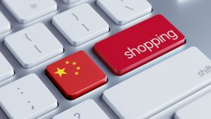Chinese flag and e-commerce on keyboard