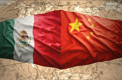 China Mexico flags