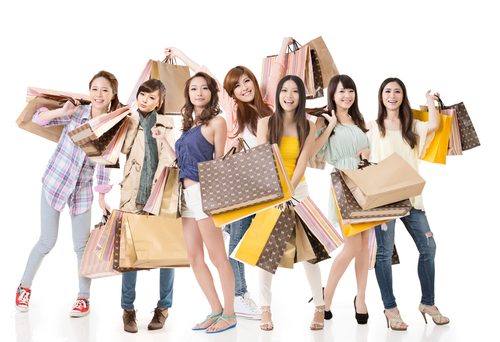 happy women shopping