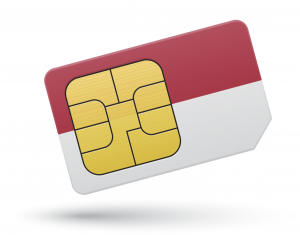 SIM card and Indonesia flag