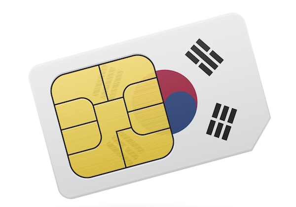 South Korea flag and SIM card