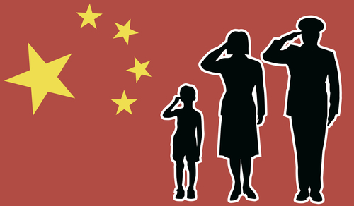 Chinese flag salute